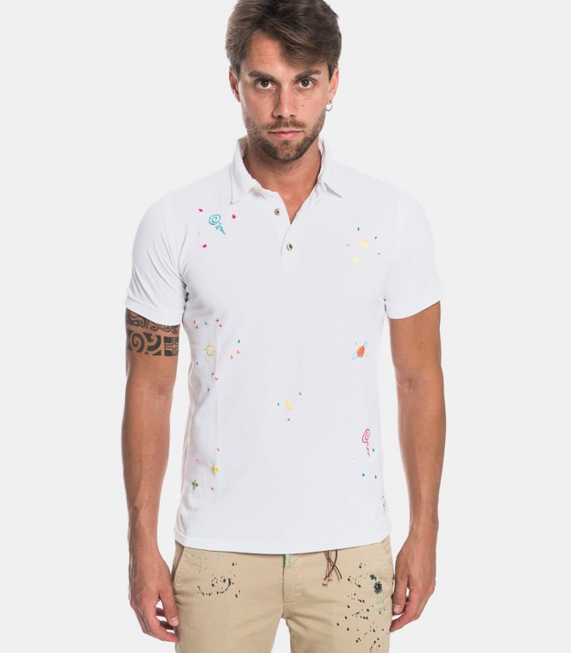 Men's patchworks polo white