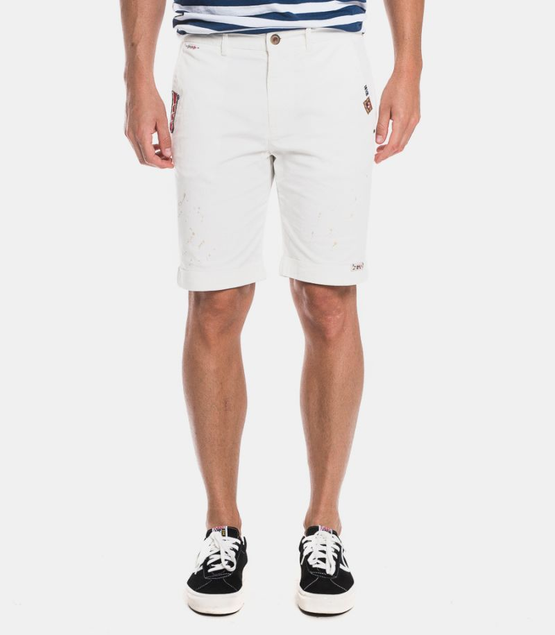 Men's bermuda with patch white