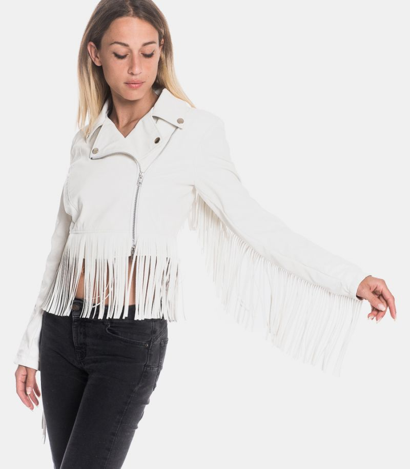 Women's jacket with franges white