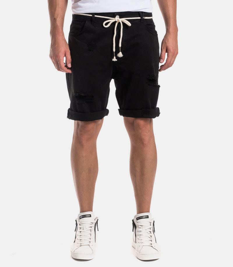 Men's ripped bermuda with rope black. 1011STRAPPI