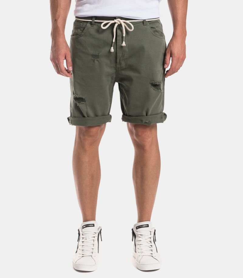 Men's ripped bermuda with rope green. 1011STRAPPI