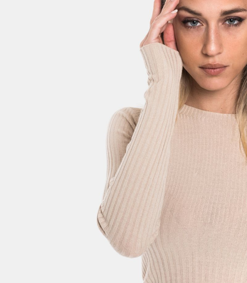 Women's small rib sweater sand