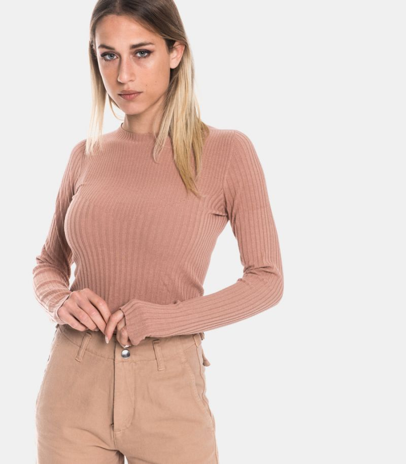 Women's ribbed sweater rose'