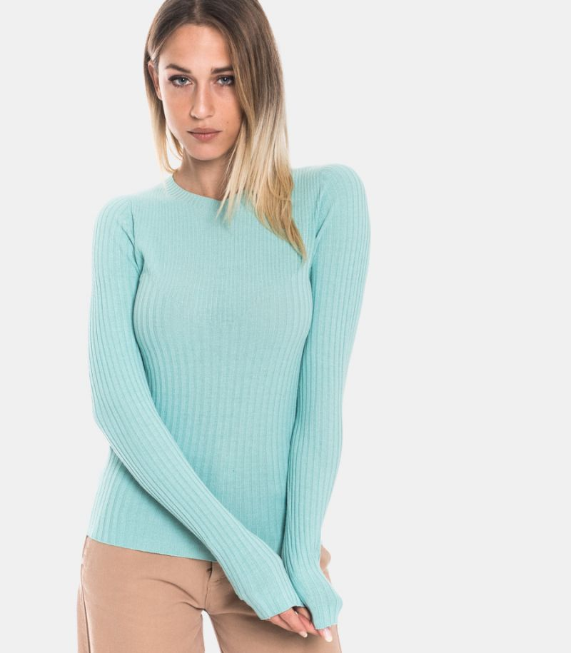 Women's ribbed sweater turquoise