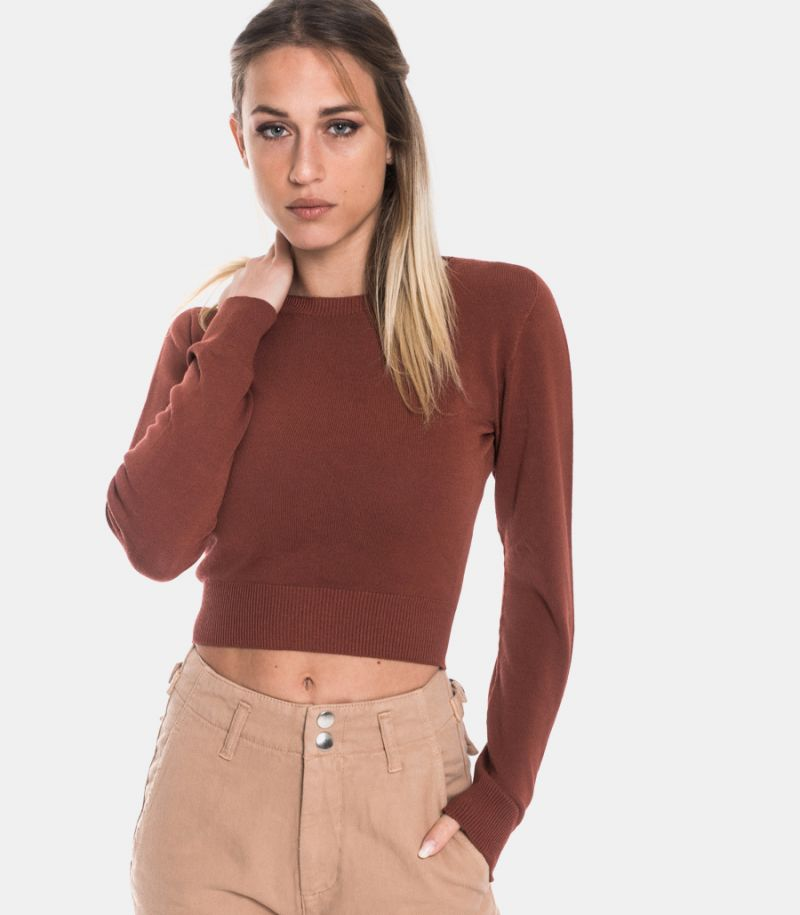 Women's small rib sweater cognac