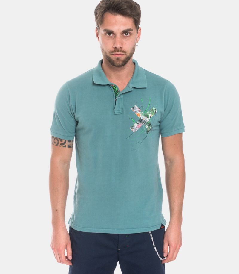 Men' hand painted and patch polo green