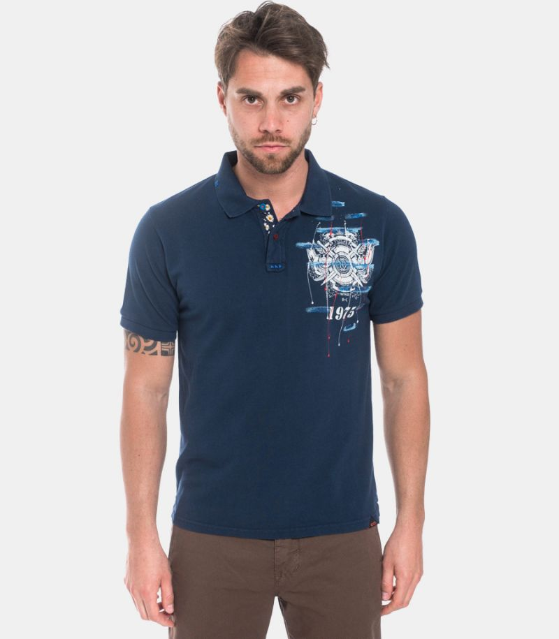 Men's polo hand painted blue