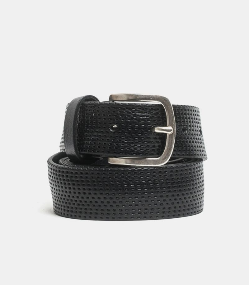 Men's perforated belt escape black