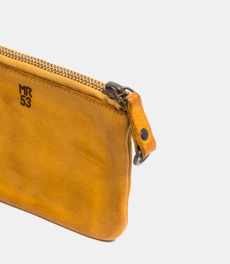 Wallet leather coin with zip yellow