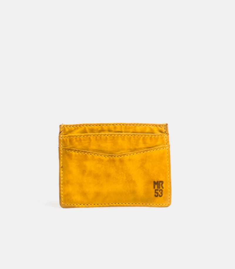 Men's leather card holder mustard.