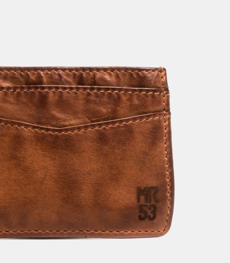 Men's leather card holder cognac.
