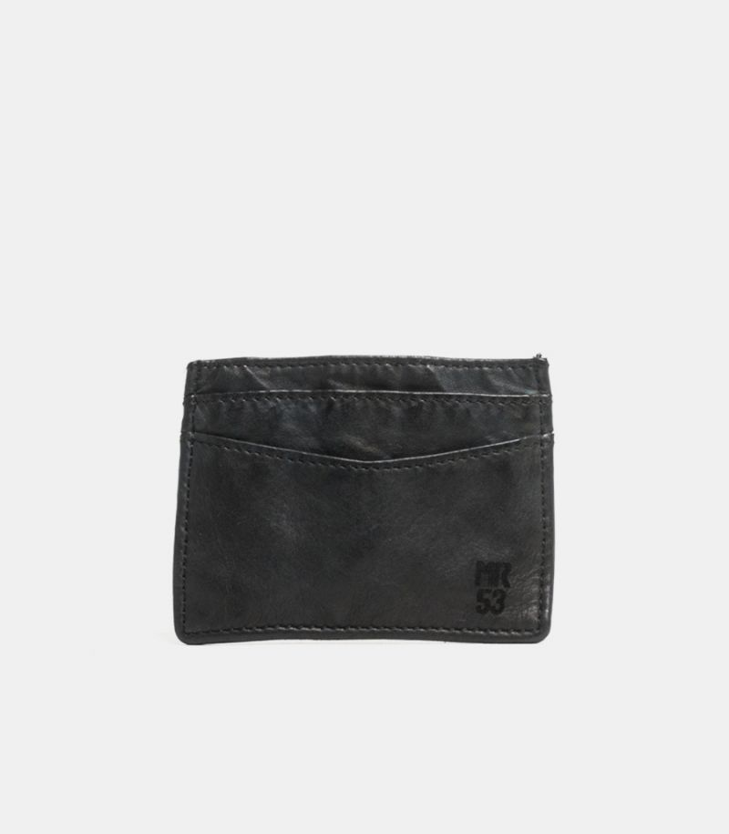 Men's leather card holder black.