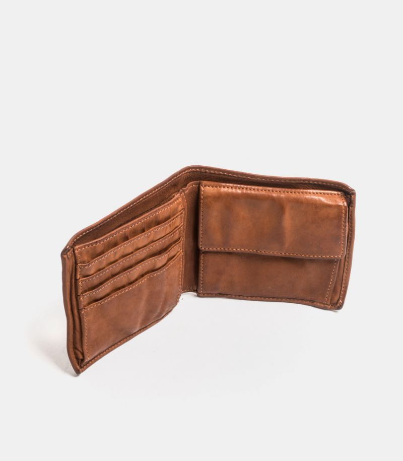 Wallet card holder leather cognac