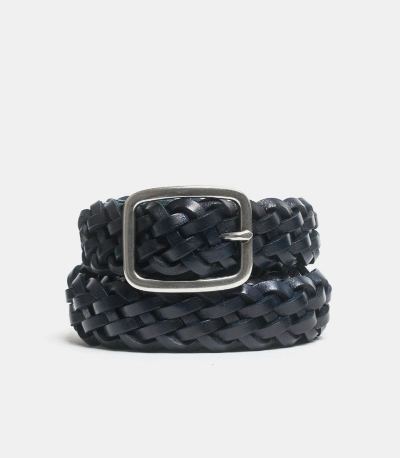 Men's woven belt blue