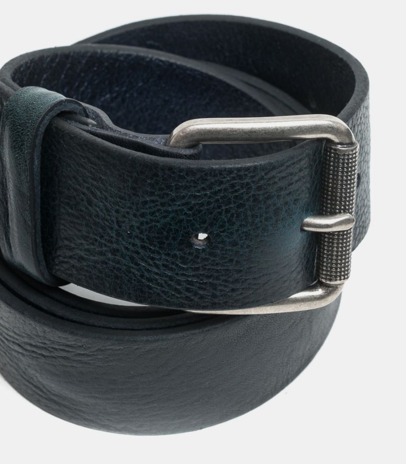 Men's leather belt Nevada dark blue