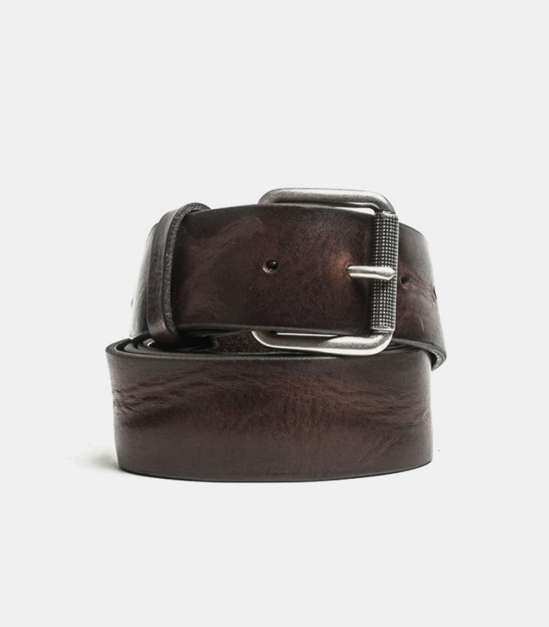Men's genuine leather belt brownie