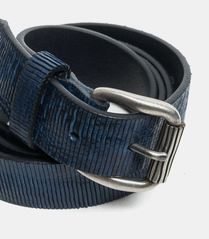 Men's worked belt blue