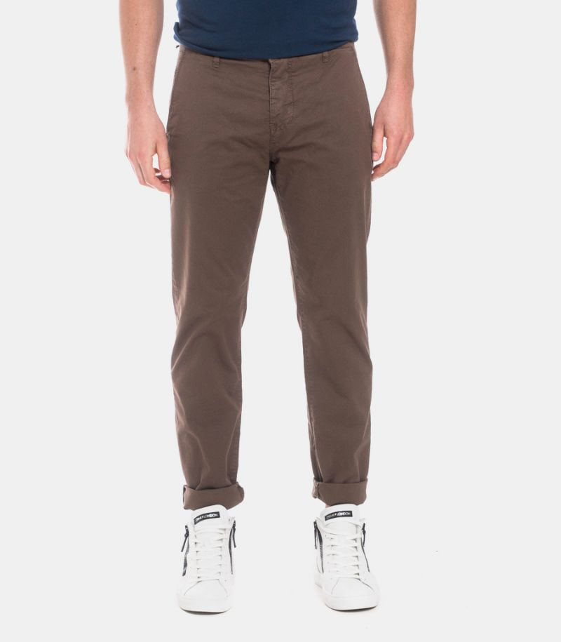 Men's microworked trousers brown