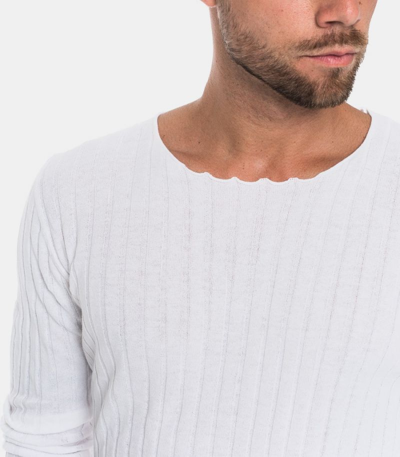 Men's wide rib sweater off white