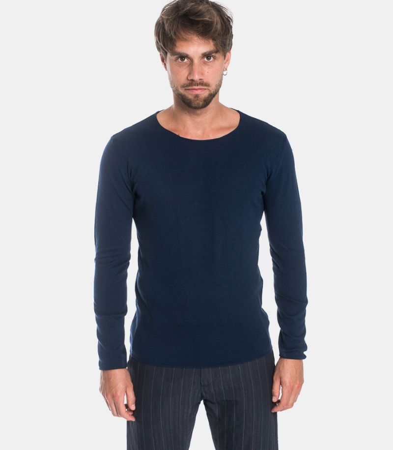 Men's raw cut sweater blue