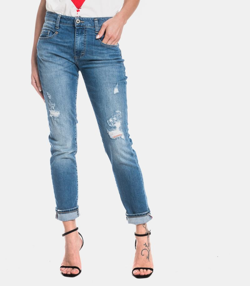Women's slim ripped jeans light blue