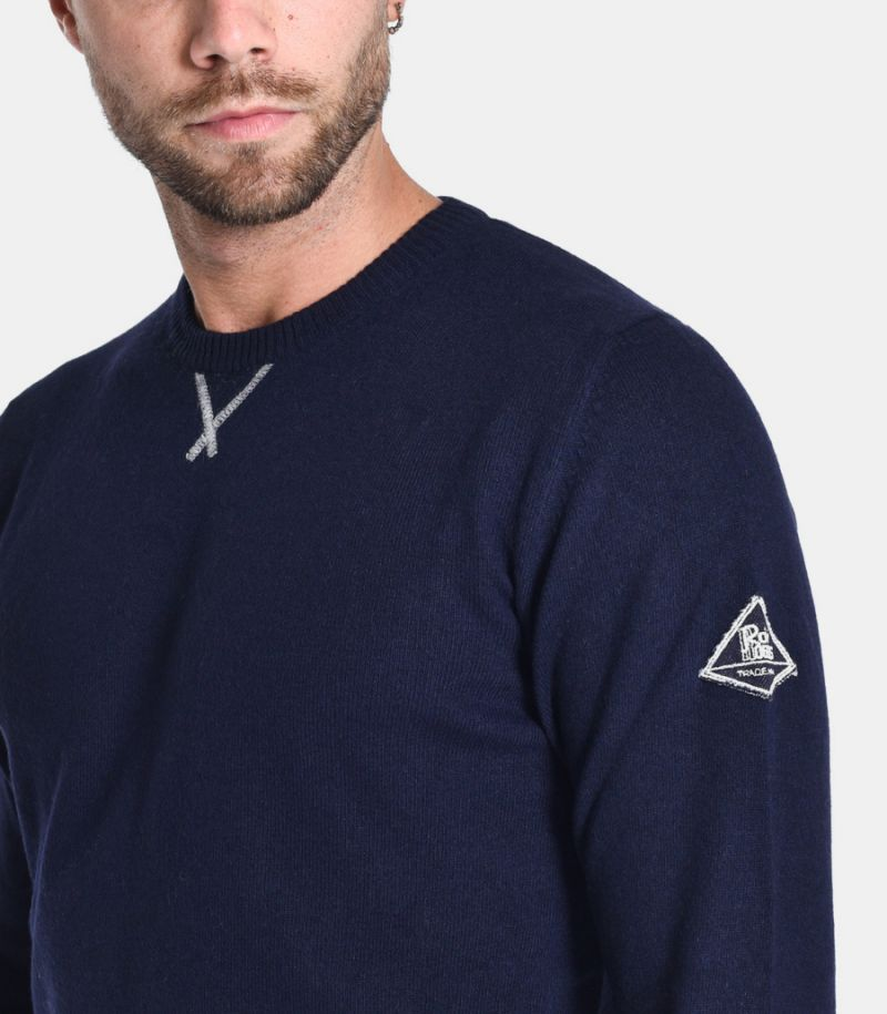 Men's roundneck sweater with logo blue. A20RRU503C733