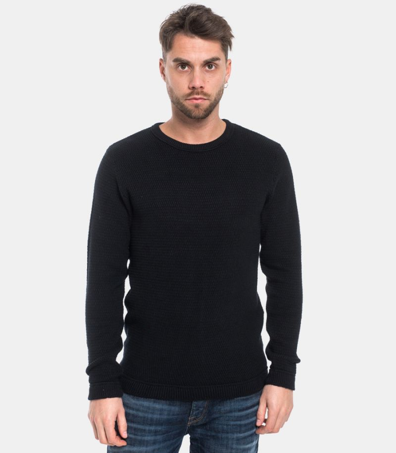 SELECTED MEN'S ROUNDNECK SWEATER BLACK