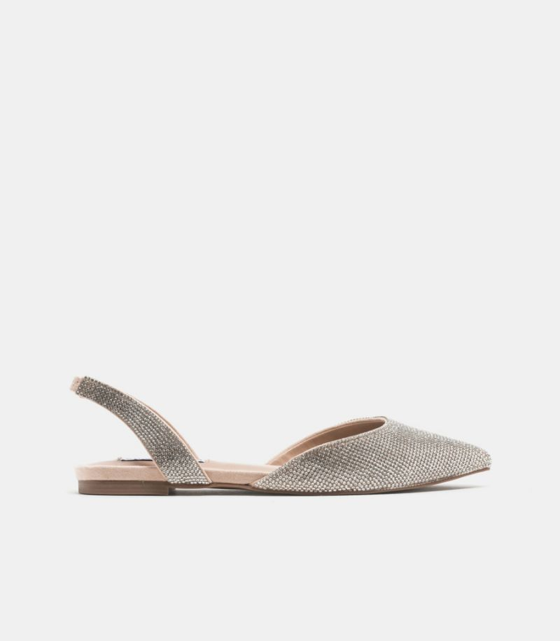 Women's low sandal with diamonds silver