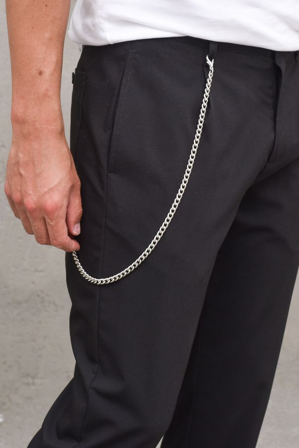 Men's trousers with lace tecnical fabric and chain black. VIENNA2879RNERO