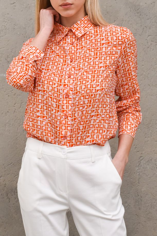 Women's blusa shirt fancy tatter sall range flame. A131ST076ORANGE FLAME