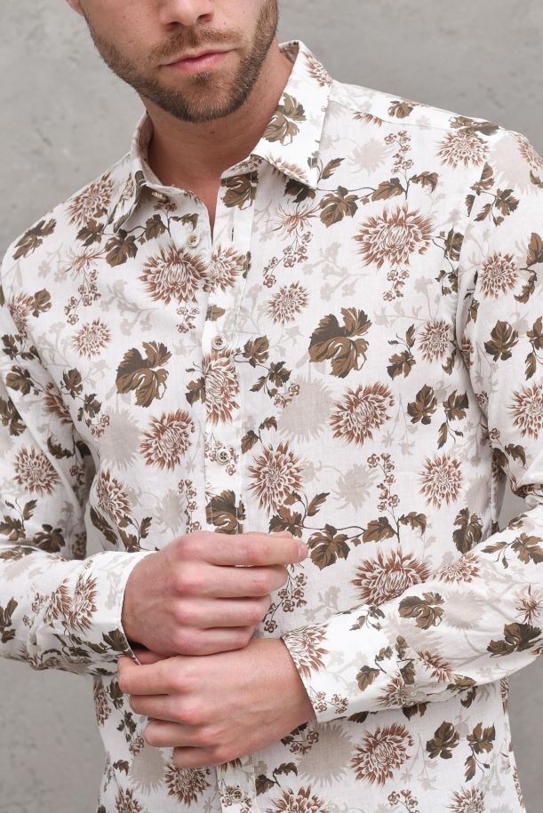 Men's fancy floral shirt white beige. B1862BEIGE 01