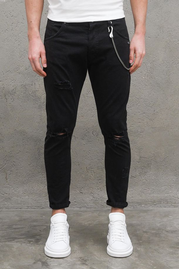 Men's trousers rips knees and chain black. M 2100681NERO