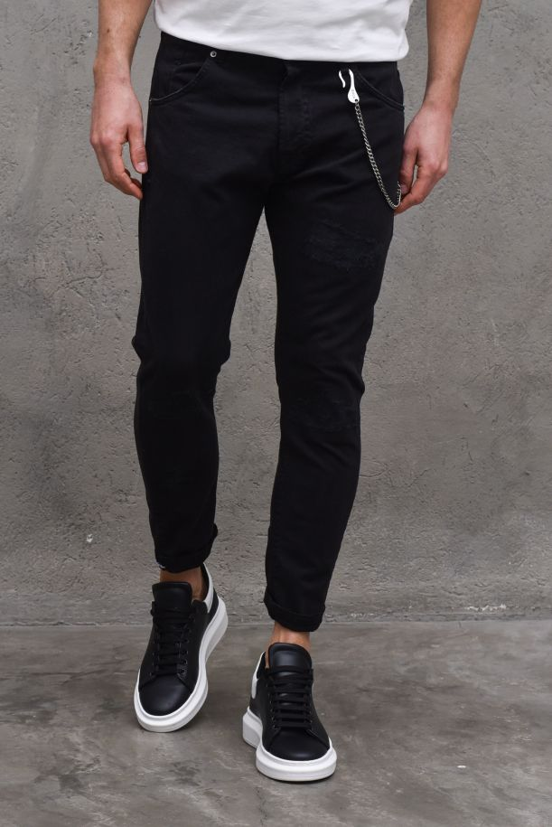Men's embroidered tears jeans trousers black. M 2100711NERO