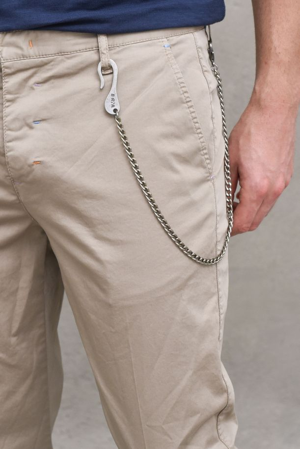 Men's chino trousers with chain sand. M 210125SABBIA