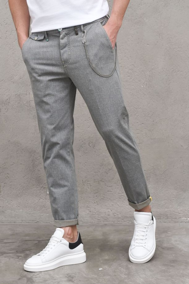 Men's chino trousers America lateral chain army. M 210143ARMY