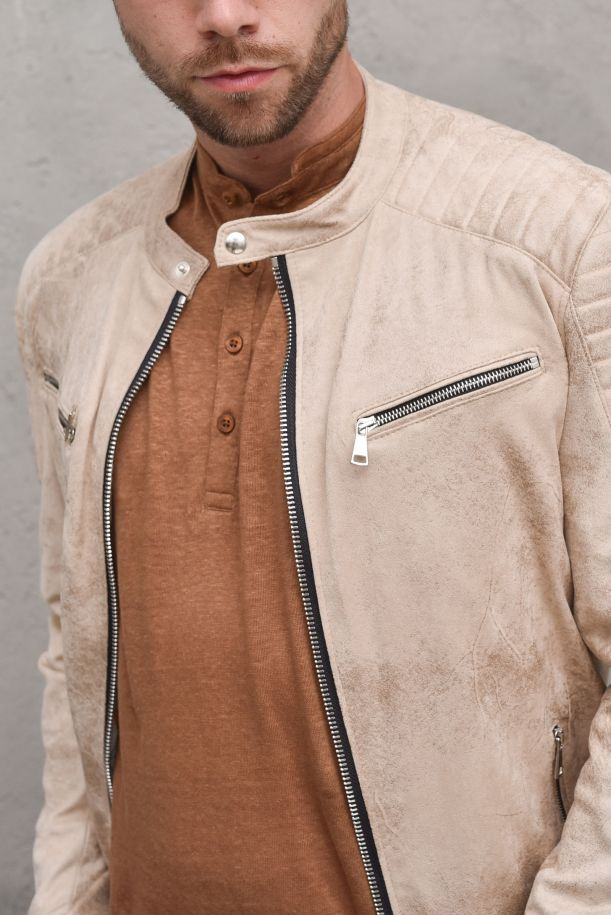 Men's leather vintage biker jacket cream. 09P211825244CREMA