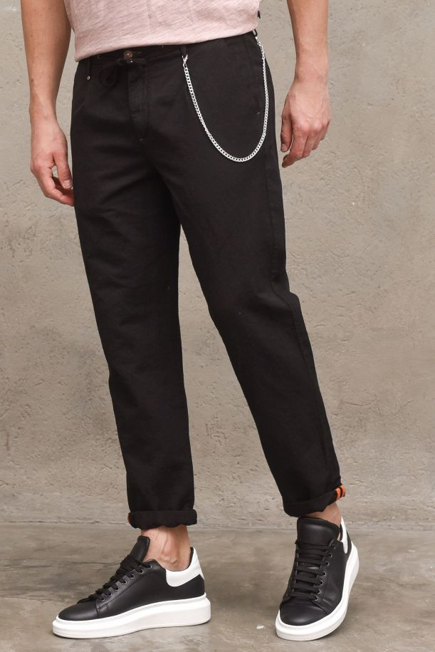 Men's trousers with lace and chain black. 10P21HEATNERO