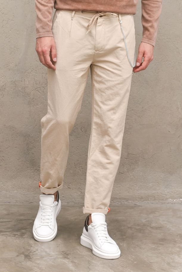 Men's trousers with lace and chain sand. 10P21HEATSABBIA