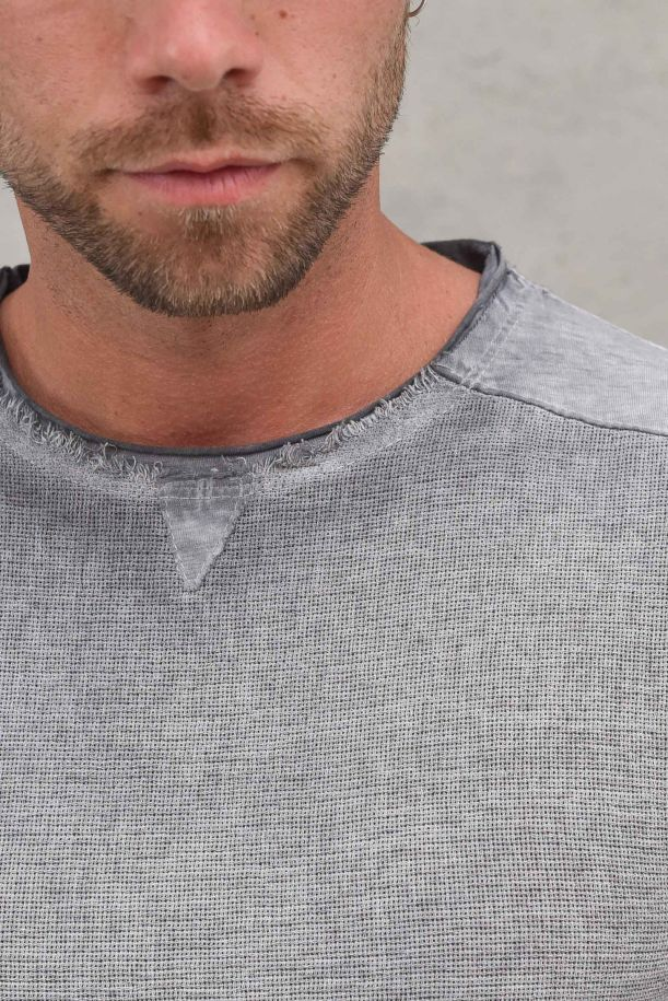 Men's raw cut cold dyed t-shirt anthracite. 30P210191ANTRACITE
