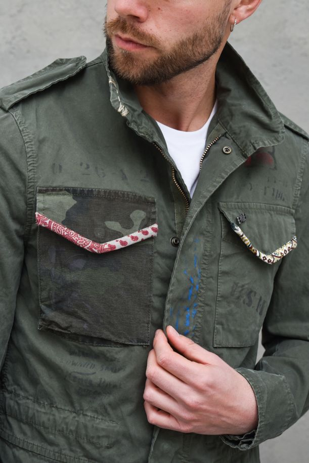Men's jacket with patch and pocket military green. ARMY400T400MILITARE