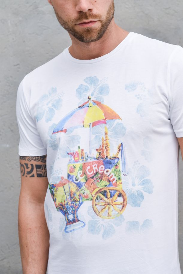 Men's ice cream t-shirt white. HELLVR0095WHITE