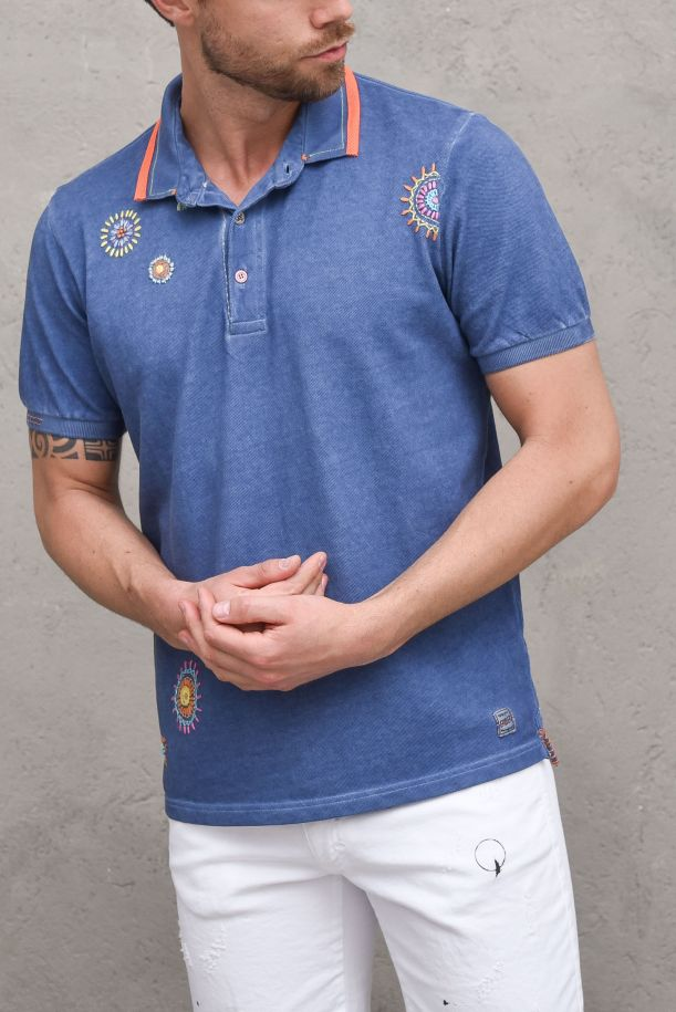 Men's cold dyed polo with applications blue. RICKYR0183JEANS FREDDO