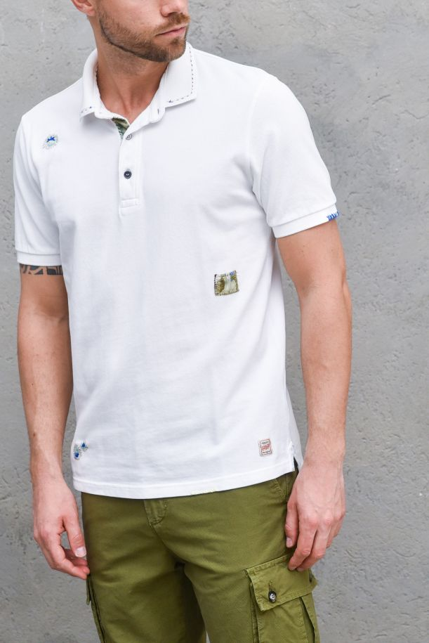 Men's embroidered patchworks polo white. RICKYR0209BIANCO