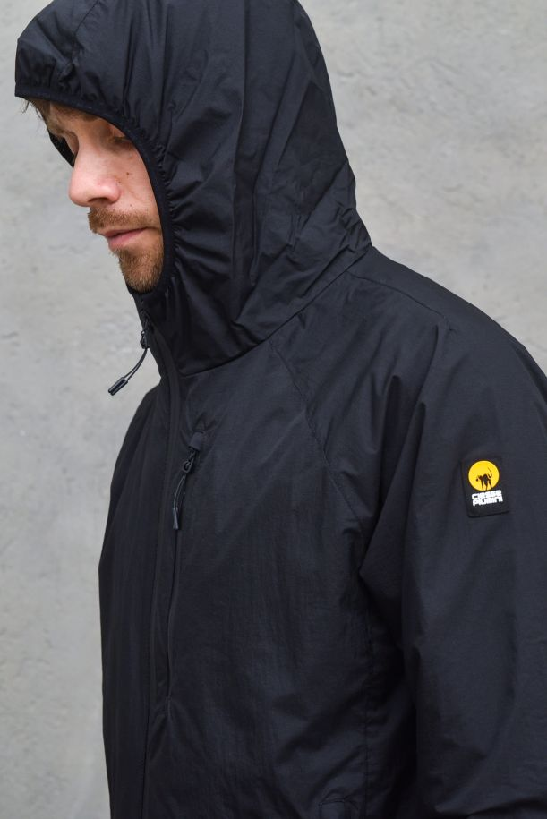 Men's technical jacket with hoody black. LOGAN215CAMJ00081ASPHALT