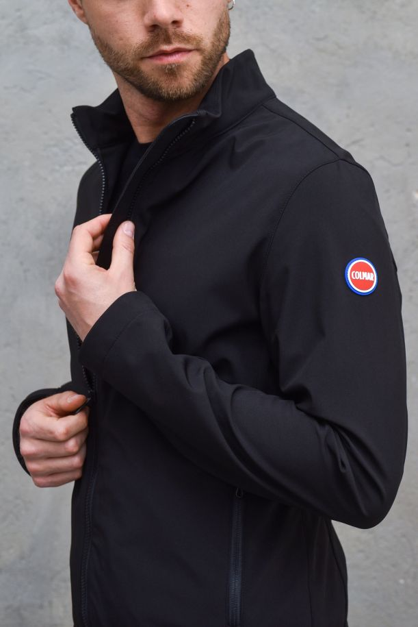 Men's technical jacket with logo black. 1865BLACK