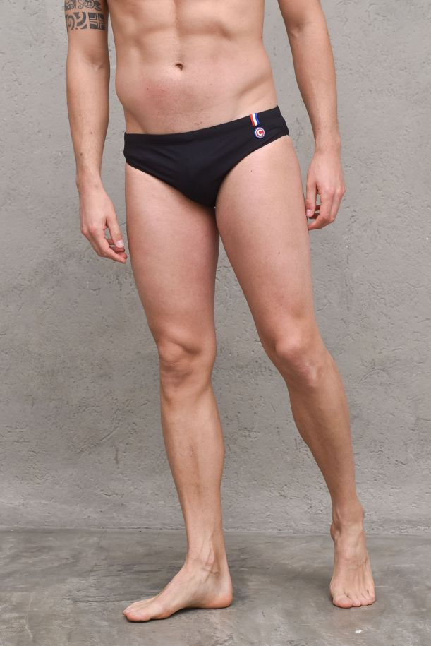 Men's swimsuit briefs side logo black. 6681NBLACK