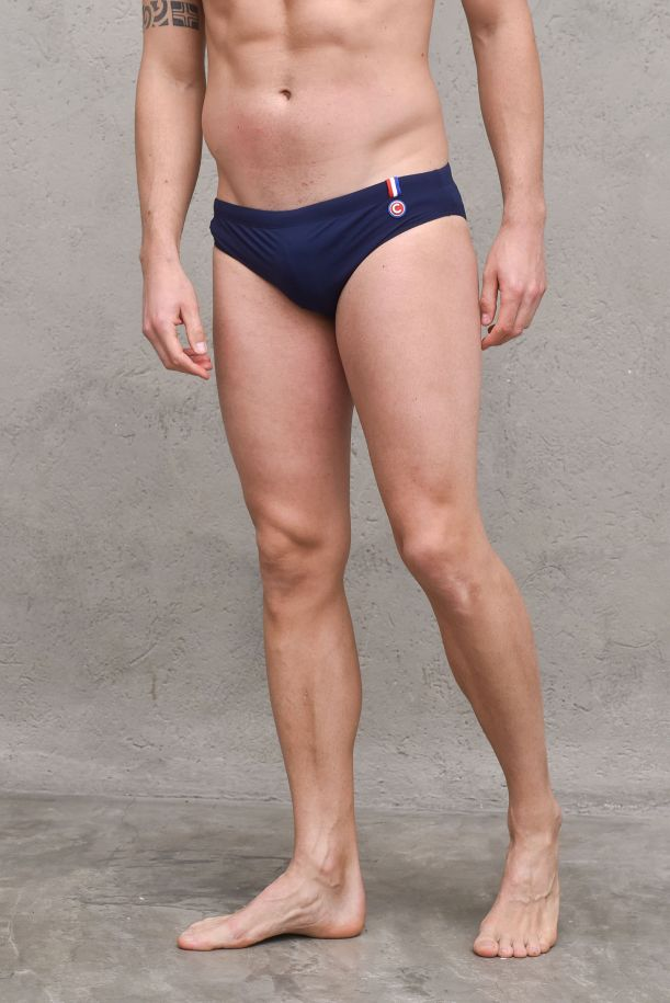 Men's swimsuit briefs side logo navu blue. 6681NNAVY/BLUE