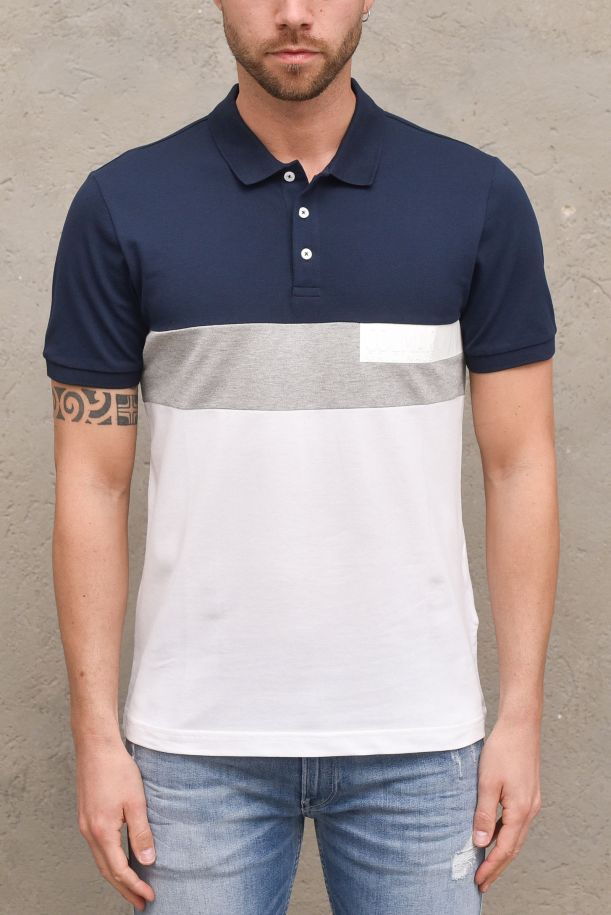 Men's polo tricolor with logo navy blue. 7680NAVY/BLUE