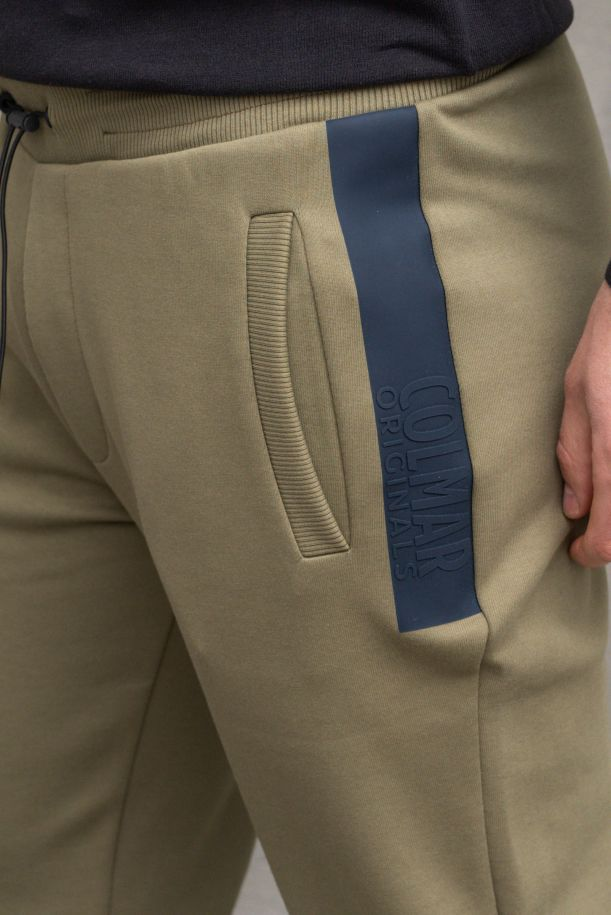 Men's fleece trousers with logo band blue. 8231 520
