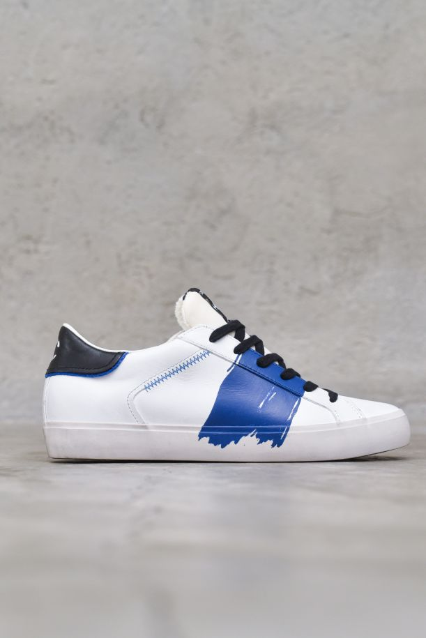 Men's sneaker low shoes distressed white blue. LOW TOP DISTRESSED11457PP3.10BIANCO/NAVY/NERO